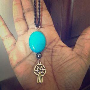 Jewelry - TurquoiseHematiteCrystalDream CatcherNecklace(Uni)